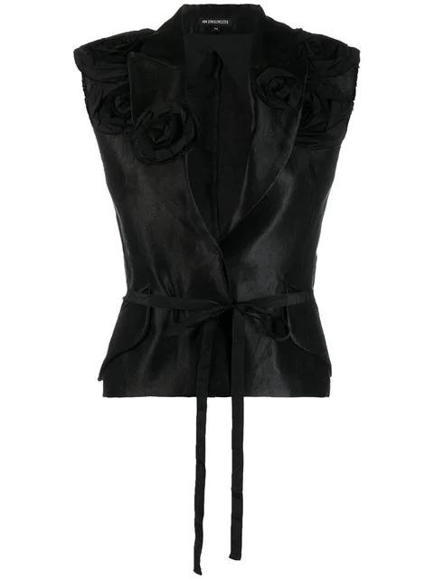 Ann Demeulemeester Floral AppliquÉS Waistcoat In Black