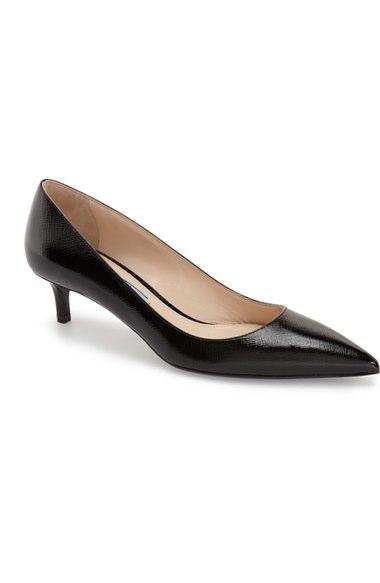 Prada Pointy Toe Pump (women) In Black/ Black Leather