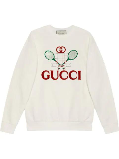 Gucci Tennis Logo-embroidered Cotton-jersey Sweatshirt In Neutrals