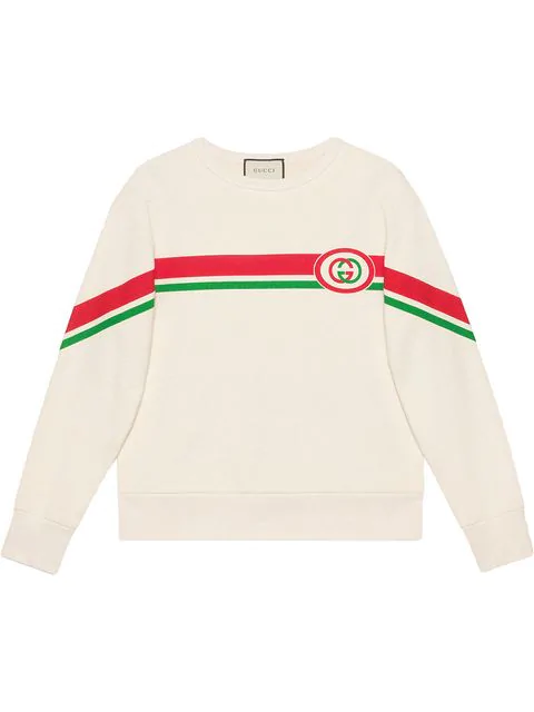 Gucci Web-striped Gg-print Cotton Sweatshirt In White
