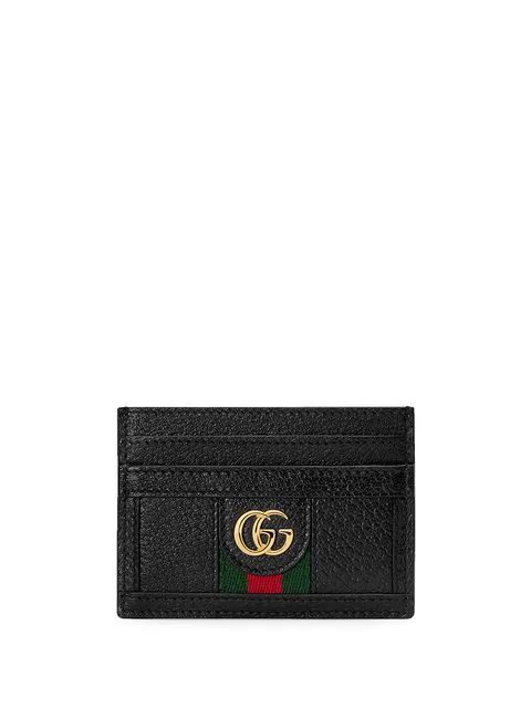 Gucci Ophidia Gg-plaque Leather Cardholder In Black