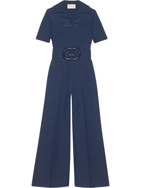 Gucci Belted Wool And Silk-blend Cady Jumpsuit In Navy Cady Crepe Wool Silk