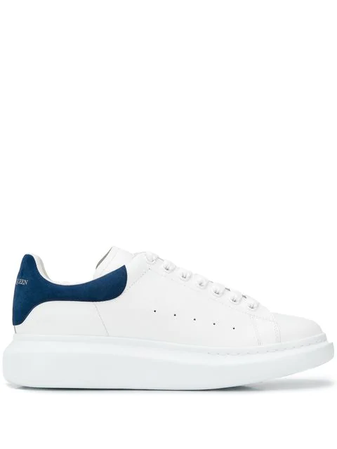 Alexander Mcqueen 'Oversized Sneakers' In Leather With Suede Collar In 9086 White Paris Blue