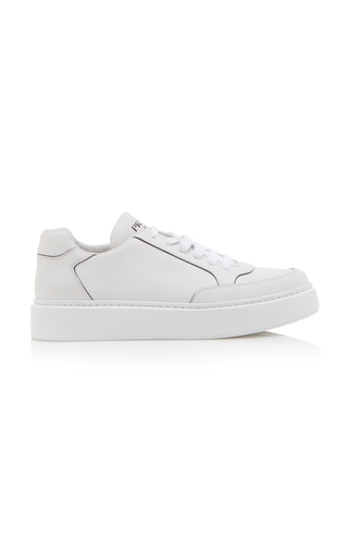 Prada Street Eighty Smooth Leather Sneakers In White