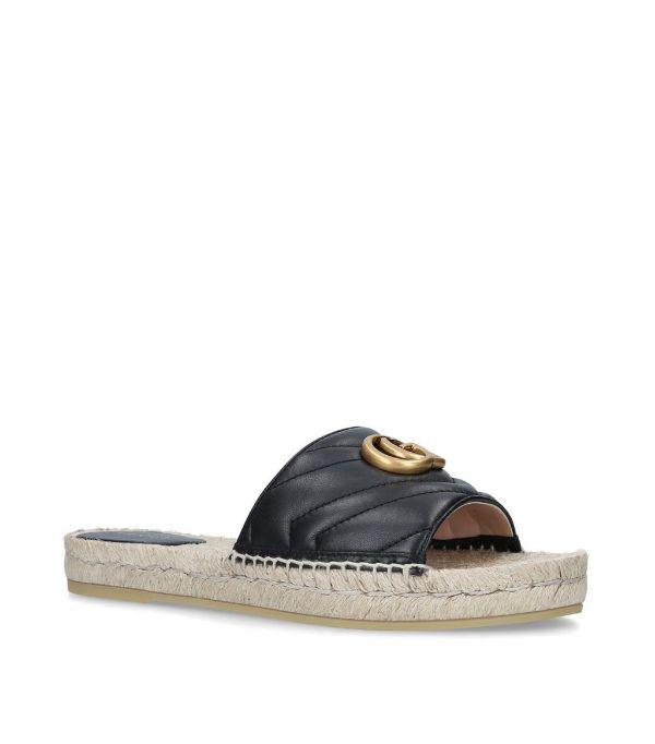 Gucci Logo-embellished Quilted Leather Espadrille Slides In 1000 Black