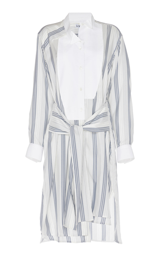 Loewe Tie-Front Striped Silk-Crepe Shirtdress In Navy