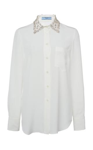 Prada Embellished Silk Shirt In White