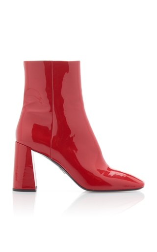 Prada Women's Leather Heel Ankle Boots Booties In Red