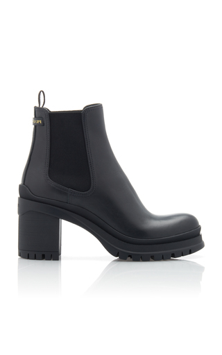 Prada Women's Leather Heel Ankle Boots Booties In Black