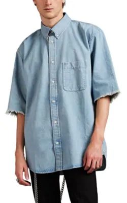 Balenciaga Button-Down Collar Distressed Logo-Print Denim Shirt In Blue