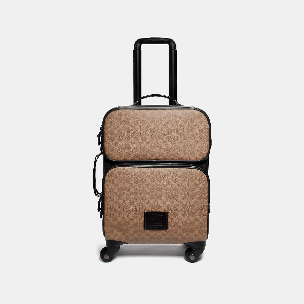 Coach Academy Travel Wheeled Carry On In Signature Canvas In Black/Khaki/Black Copper