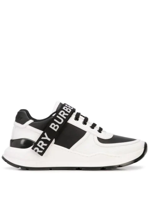Burberry Leather And Fabric Black And White Sneakers With Logo Print In White ,black