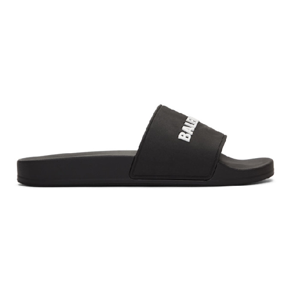 Balenciaga 'Piscine' Logo Print Lambskin Leather Slide Sandals In 1006 Blk/Wh