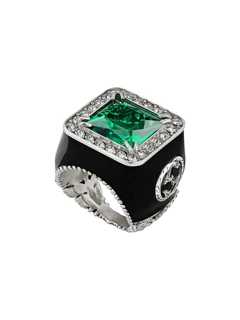 Gucci Crystal-embellished Signet Ring In Green ,black