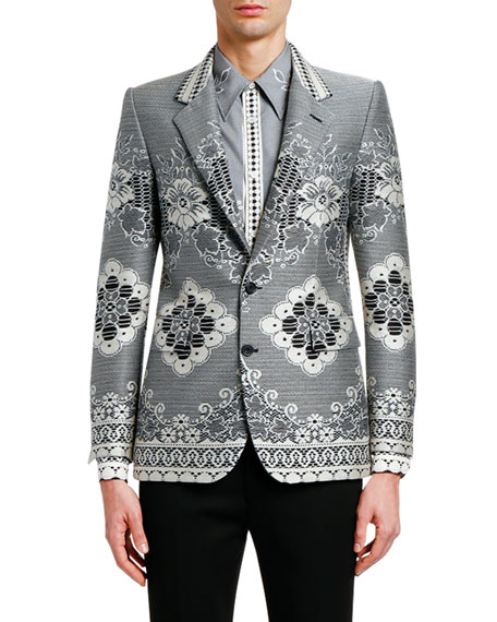 Alexander Mcqueen Men's Lace Jacquard Two-button Jacket In Black/white