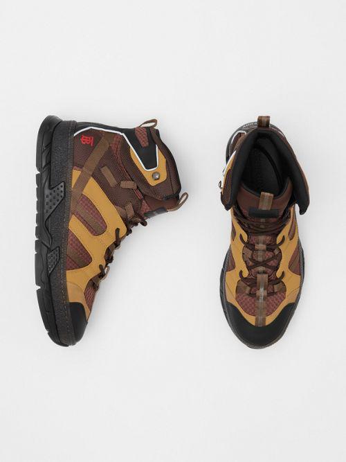 Burberry Monogram Motif High-Top Sneakers In Brown In Dark Tan