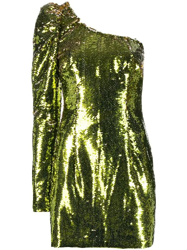 Amen Sequined Asymmetrical Mini Dress In Gold
