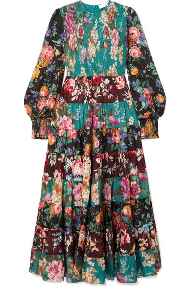 Zimmermann Allia Floral-Print Long-Sleeved Silk-Satin Maxi Dress In Multi