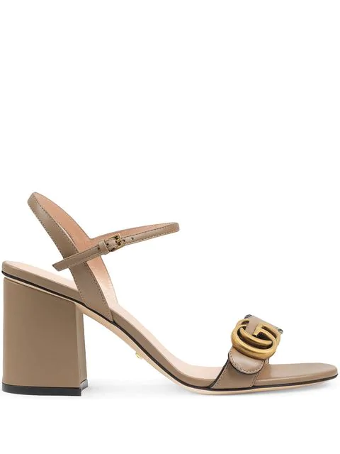 Gucci Leather Mid-heel Sandal With Double G In Brown