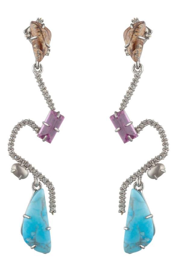 Alexis Bittar Crystal Maze Fancy Stone Earrings In Multi Color