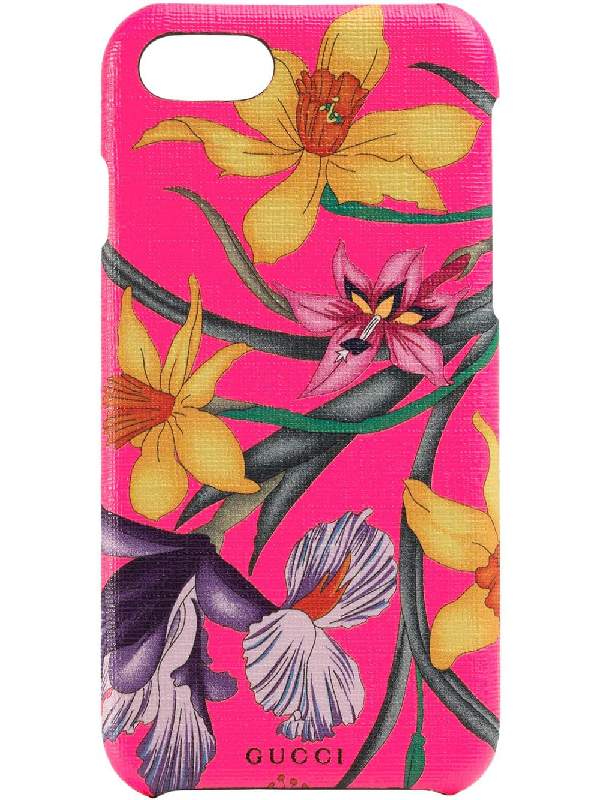 Gucci Iphone X/Xs Case With Flora Print In Pink