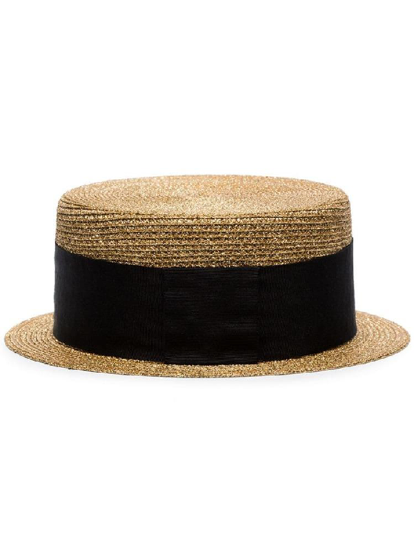 92c625e0694 Saint Laurent Small Boater Hat In Matte Straw In Gold | ModeSens