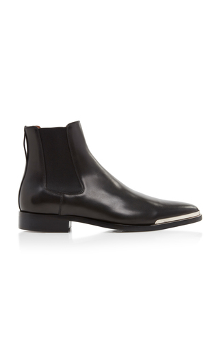 Givenchy Dallas Metal-toe Leather Chelsea Boots In 001 Black