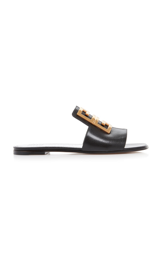 Givenchy Sandals 4G Flat Calfskin Logo Metallic Black In 001 Black