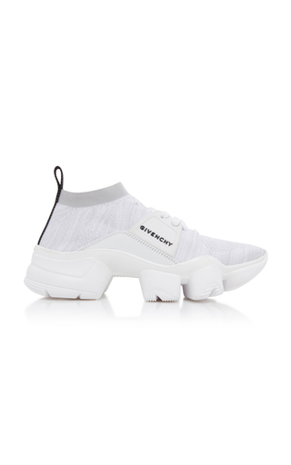 Givenchy Jaw Leather, Rubber And Mesh Sneakers In 100 White