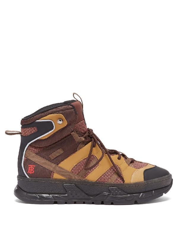 Burberry Monogram Motif Mesh And Nubuck High-top Sneakers In Brown