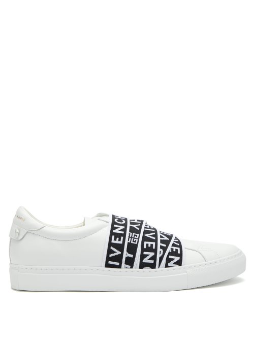 Givenchy Urban Street Logo-Jacquard Leather Trainers In 116 - Black/White