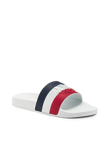 Moncler White Sandal With Red, Blue And White Band