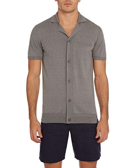 Orlebar Brown Men's Colman Cotton/Silk Button-Down Shirt In Pewter