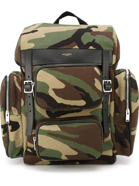 643abe385d Saint Laurent Hunting Multi-Pocket Rucksack In Camouflage Cotton Gabardine  And Black Leather In Green