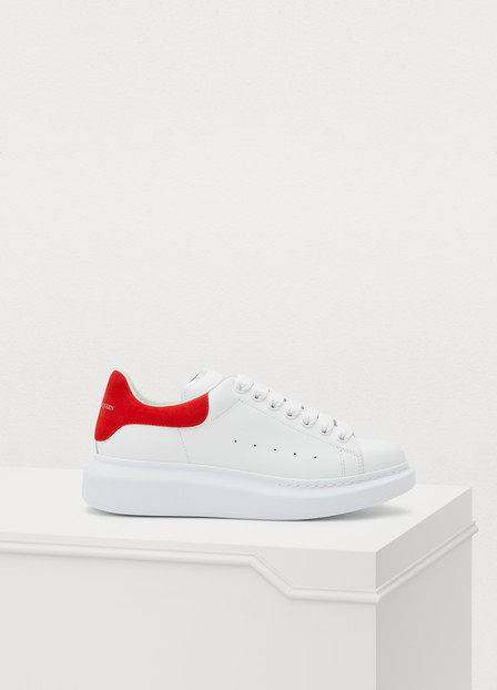 Alexander Mcqueen Runway Leather And Suede Platform Trainers In Red