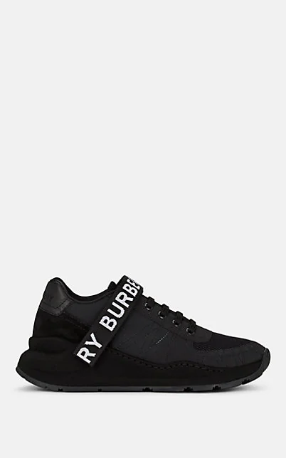 Burberry Logo Detail Leather, Nubuck And Mesh Sneakers In Black