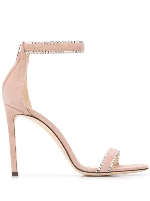 Jimmy Choo Women's Dochas Crystal-embellished Leather High-heel Sandals In Pink