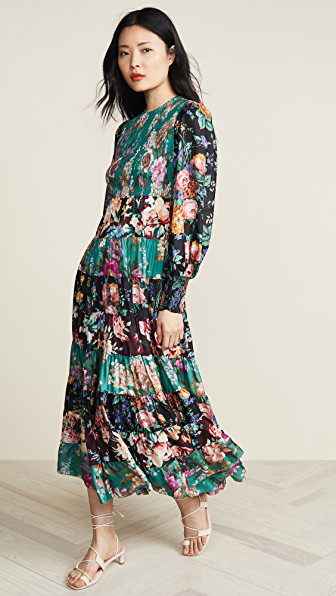 Zimmermann Allia Floral-Print Long-Sleeved Silk-Satin Maxi Dress In Verde Multicolor