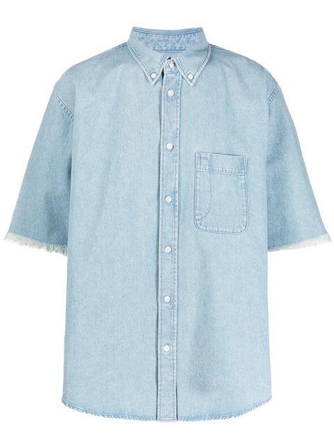 Balenciaga Button-down Collar Distressed Logo-print Denim Shirt In Blue