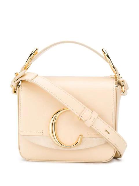 ChloÉ C Mini Leather Shoulder Bag In Cream