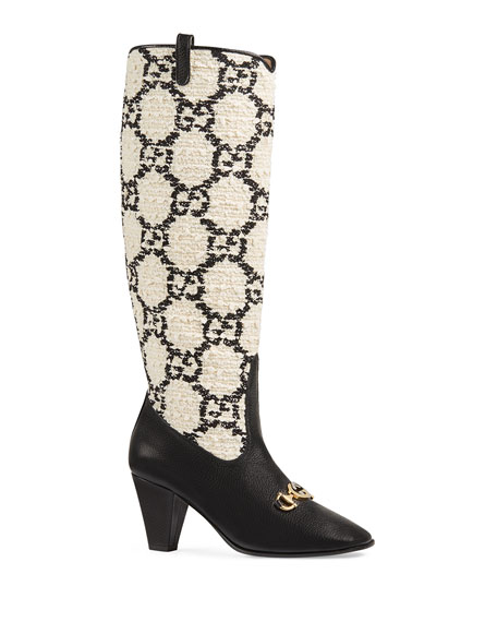 Gucci 75mm Zumi Gg BouclÉ & Leather Tall Boots In White ,black