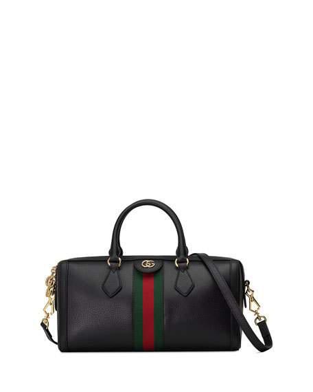 Gucci Ophidia Medium Top Handle Duffel Bag In Black