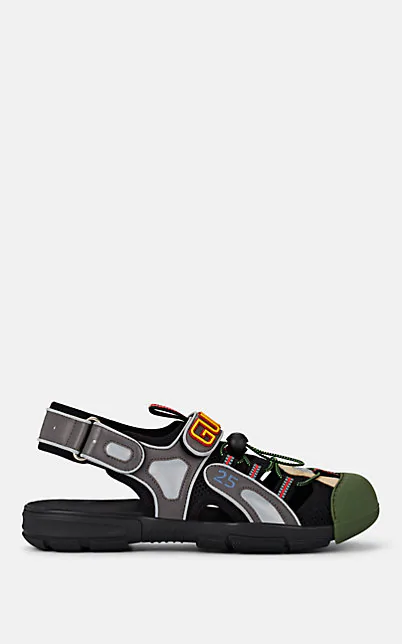 Gucci Logo-Detailed Rubber, Leather And Mesh Sandals In Gray