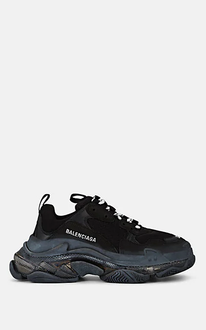 Balenciaga Triple S Clear Sole Logo-Embroidered Leather, Nubuck And Mesh Sneakers In Black