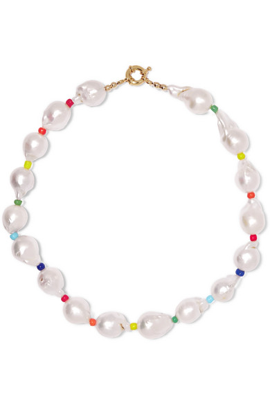 Eliou Asti Pearl And Bead Necklace In White