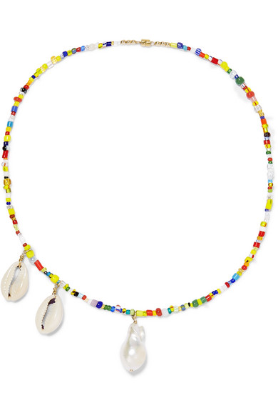 Eliou Paxi Bead, Pearl And Shell Necklace In Yellow