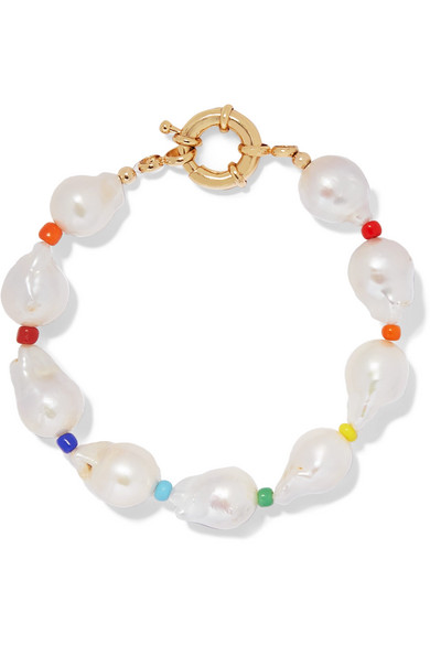Eliou Asti Pearl And Bead Anklet In White