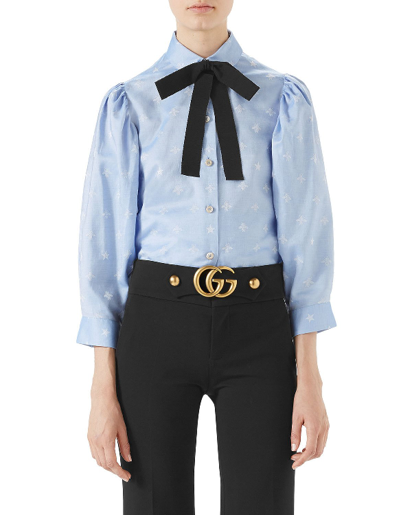 c4a8b46ab Gucci Ribbon Bow Floral Embroidered Oxford Shirt In Sky Blue/ Black ...