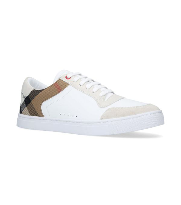 Burberry Rubberised-leather, Suede And Checked Canvas Sneakers - White