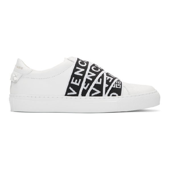 Givenchy Urban Street Logo-Jacquard And Leather Slip-On Sneakers In White